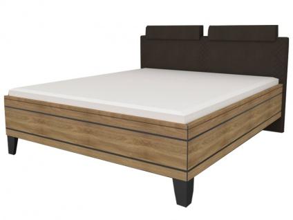 Staud Sonate Bett in Luxushöhe mit Fußteil 3 und Polsterkopfteil Raute Style Bettrahmen in Dekor mit Zierleisten Liegefläche wählbar