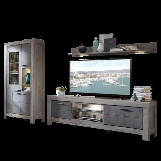 Wohn-Concept Granada 3-teilige Wohnkombination 80 für Ihr Wohnzimmer Wohnwand mit einer Vitrine einem TV-Unterteil und einem Wandboard inkl. LED-Beleuchtung Ausführung wählbar