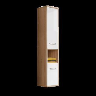 Forte Ducato Hängeschrank DCTH62R für Badezimmer mit zwei Türen und einem offenen Fach Dekor Sonoma Eiche und Weiß Hochglanz