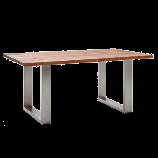 MCA furniture Esstisch Matras mit massiver Tischplatte Eiche Bassano Baumkante Gestell Edelstahl gebürstet