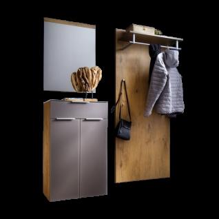 Wittenbreder Stelvio Garderobenkombination Nr. 01 komplette Garderobe für Ihren Flur und Eingangsbereich 3-teilige Vorschlagskombination im Dekor Wildeiche Basalt Glas mattiert und Karamell Dekor