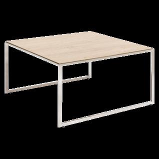 Stralsunder Couchtisch TCC.070 quadratisch mit Metallgestell in Edelstahl handpoliert mit Glanzoptik und wählbarer Tischplattenausführung für Ihr Wohnzimmer