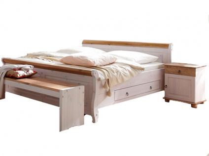 Euro Diffusion Oslo Bett mit 2 Schubkästen Liegefläche wählbar optional mit Nachtkommoden und Bettbank Ausführung Kiefer-Massivholz weiß mit Absetzungen in Antik