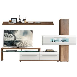 Die Hausmarke 5-teilige Wohnwand Light Line 2 - 21-7000 Front und Korpus weiß matt mit Frontapplikationen in Kanadaeiche Nachbildung Beleuchtung und Rückwandspiegel wählbar ideal für Ihr Wohnzimmer