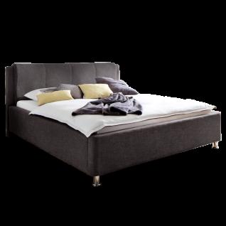 Meise Möbel Polsterbett El Paso mit Stoffbezug Culture in dunkelbraun inklusive Bettkasten und Lattenrost Kopfteil mit Kissenüberzug Metallfüsse in Chromoptik Liegefläche wählbar