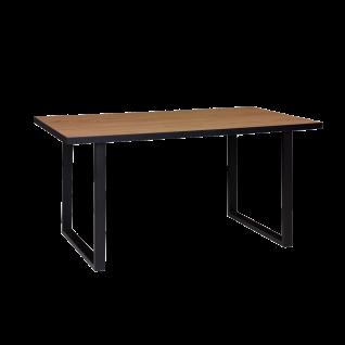 Elfo-Möbel Lola Esstisch in Eiche furniert geölt für Ihr Esszimmer mit schwarzen Metallkufen Tischplattengröße wählbar
