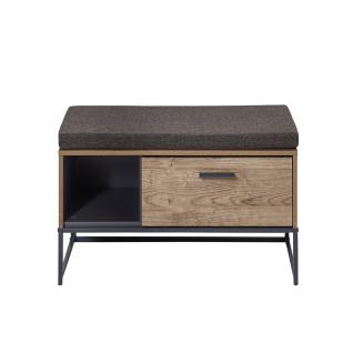 Wohn-Concept Manhattan Garderobenbank 6008VV60 inkl. Sitzkissen mit Schubkasten und Fach in Haveleiche Cognac Nachbildung und Metall Anthrazit