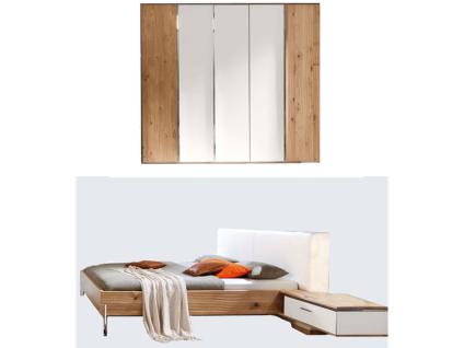 Thielemeyer Loft Schlafzimmer 2-teilig Korpus und Front Eiche Massivholz Komfort-Liegenbett mit Polsterkopfteil in Echtleder weiß Liegefläche wählbar mit 5-türigem Drehtürenschrank mit Colorglastüren in weiß optional mit 2 Hängekonsolen rechts und links m