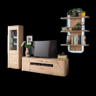 MCA Furniture Buffalo BUF52W02 Wohnkombination 2 für Ihr Wohnzimmer 3-teilige Wohnwand Front Balkeneiche Bianco Korpus Eiche Bianco Melamin Nachbildung