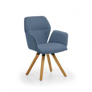 Niehoff Merlot Design Armlehnenstuhl 2132 mit festem Stativ-Gestell aus Massivholz oder Design-Armlehnenstuhl mit Stativ-Gestell aus Massivholz mit Rückholfunktion Stuhl für Wohnzimmer oder Esszimmer Bezug wählbar