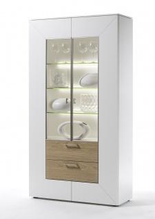 MWA Aktuell Newport Vitrine mit 2 Glastüren 2 Schubkästen und 3 Glasböden in verschiedene Frontausführungen wählbar ideal für Ihr Wohnzimmer oder Esszimmer
