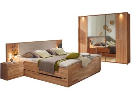 Rauch Steffen Misao Schlafzimmer-Kombination 4-teilig teilmassiv bestehend aus Bett mit geschlossenem Sockel, 2 Nachtkommoden und Kleiderschrank 5-türig