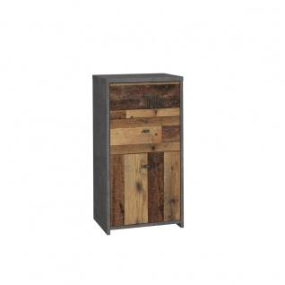 Forte Möbel Best Chest SQNK211 Kommode mit einer Tür und zwei Schubkästen in Holzoptik Old-Wood Vintage