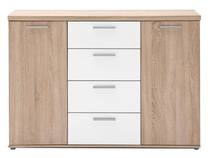 FORTE Sideboard Winnie WNK26 mit 2 Türen und 4 Schubkästen Dekor Sonoma Eiche Nachbildung kombiniert mit Weiß Kommode für Ihr Wohnzimmer Babyzimmer oder Jugendzimmer - Vorschau