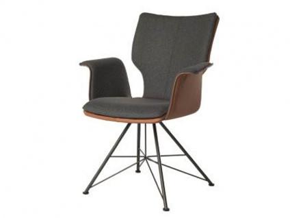 Bert Plantagie Stuhl Joni Spin Komfort 733C mit Bi-Color-Mattenpolsterung (zweifarbig) Polsterstuhl für Esszimmer Esszimmerstuhl mit Armlehnen Gestellausführung und Bezug in Leder oder Stoff wählbar