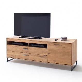 MCA Furniture Portland TV-Element POR17T30 für Ihr Wohnzimmer Lowboard im Industrial Look mit einer Tür zwei Schubkästen und zwei offenen Fächern TV-Unterteil in Asteiche bianco teilmassiv mit Fronten aus Massivholz und Füßen aus Metall Anthrazit lackiert - Vorschau 4