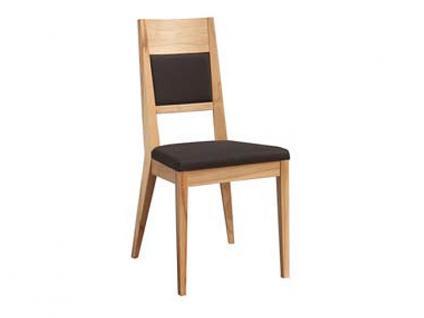 Dkk Klose Kollektion Stuhl S23 zweifarbiger Polsterstuhl für Küche oder Speisezimmer mit Schaumstoffpolster in Rücken und Sitz Massivholzgestell in verschiedenen Beiztönen sowie Bezug für Sitz und Rücken jeweils in Leder oder Textil wählbar