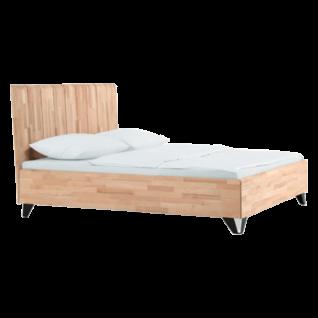 Dico Möbel Massiva Massivholzbett mit Holzkopfteil in Kernbuche geölt mit Metallfüßen Liegefläche wählbar