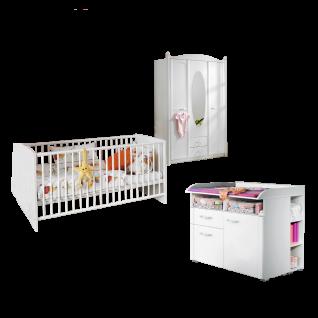 Rauch Packs Lilly Babyzimmer 5-teilig betsehend aus Babybett Wickelkommode mit Regalelementen und Drehtürenschrank Farbausführung alpinweiß