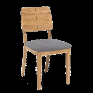 Standard Furniture Stuhl Norman 2 Gestell und Rückenlehne mit vertikaler Fräsung in Massivholz Sitz gepolstert Stuhl für Esszimmer und Küche Holzausführung und Bezug wählbar
