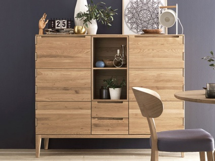 Wöstmann C100 Casa Avanti Highboard 3652 mit zwei Schubkästen und zwei Türen Kommode in Massivholz europäische Wildeiche geölt soft gebürstet für Wohnzimmer und Esszimmer