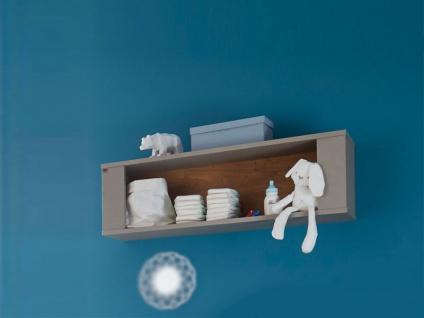 Mäusbacher Tokio Hängeregal 0305_00 mit 1 offenen Fach für Babyzimmer oder Kinderzimmer Wandregal im Dekor Taupe mit Absetzung in Wildeiche geölt Nachbildung