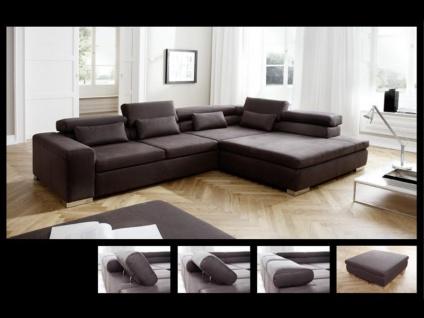 Candy New Jersey Ecksofa Sofa Couchgarnitur Couch für Wohnzimmer Sofagarnitur in Bezug Stoff oder Echtleder wählbar inkl. 4 Nierenkissen