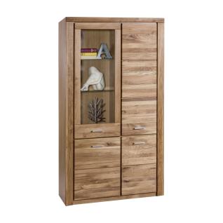 Elfo Tabea Vitrine 2333 in Wildeiche teilmassiv mit drei Holztüren und einer Tür mit Glaseinsatz Standvitrine breit mit Fronten aus Massivholz geölt für Ihr Wohnzimmer oder Esszimmer