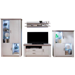 MCA furniture Wohnwand Bozen Wohnkombination 2 Art.Nr. BOZ96W02 4-teilig Pinie Aurelio / Eiche Nelson Beleuchtung wählbar für Ihr Wohnzimmer