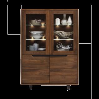 Bodahl Concept 4 you Highboard Extreme 12713 in Nussbaum teilmassiv mit zwei Holztüren und zwei Glastüren Beleuchtung wählbar ideal für Ihr Esszimmer oder Wohnzimmer