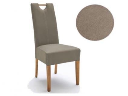 MCA Direkt Stuhl Elida taupefarben Strukturoptik 2er Set Polsterstuhl für Wohnzimmer und Esszimmer Ausführung 4 Fuß Massivholzgestell und Griff wählbar