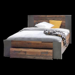 Forte Clif Jugendzimmer Bett mit Unterbettschubkasten wahlweise mit Nachtkommode Korpus Old Wood Vintage Nachbildung kombiniert mit Betonoptik Dunkelgrau