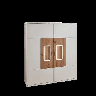 Ideal-Möbel Falan Highboard Type 52 für Ihr Wohnzimmer oder Esszimmer moderne Anrichte mit zwei Türen mit Korpus in Weiß mit Absetzungen in Eiche Artisan Folie inkl. integrierter LED-Beleuchtung in den Türen
