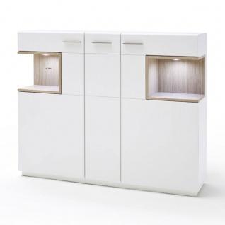 MCA furniture Cesina Highboard Art.Nr. CES35T05 Front weiß matt lackiert Absetzung Asteiche furniert geölt Korpus innen weiß matt Nachbildung Korpus außen weiß matt lackiert LED-Beleuchtung gegen Aufpreis Schrank für Ihr Wohnzimmer oder Esszimmer