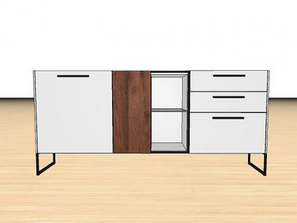 Gwinner Blogg SB4-5 oder SB4-5SV Sideboard mit Gestell zweitürig mit 3 Schubkästen Lack-matt- und Akzentausführung wählbar