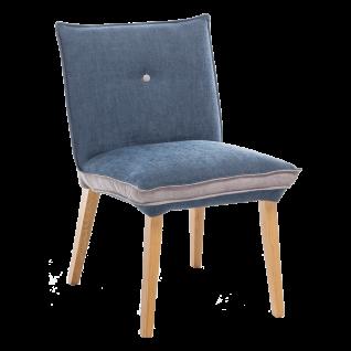Standard Furniture Factory Polsterstuhl Genua 1 zweifarbig Bezug gau/blau Gestell aus Massivholz Eiche natur