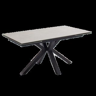 MCA furniture Esstisch Nagano mit Stirnauszug Gestell schwarz Tischplatte hellgrau aus Keramik/ Sicherheitsglas