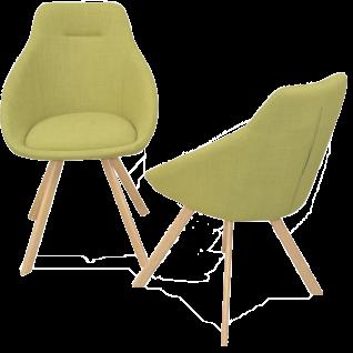 09 ED. 2er Set Esszimmerstuhl mit schickem grünen Bezug und naturfarbenen pulverbeschichteten Stahlrohrbeine