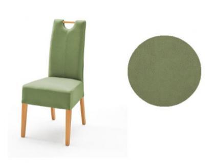 MCA Direkt Stuhl Elida kiwifarbener Bezug Argentina 2er Set Polsterstuhl für Wohnzimmer und Esszimmer und Küche Ausführung 4 Fuß Massivholzgestell und Griff wählbar