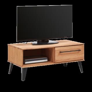 Niehoff Mediananrichte Easy 4924-39-000 aus Charakter-Eiche Massivholz mit schwarzen Metallgriffen ideal für Ihr Ess-oder Wohnzimmer