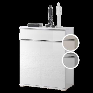 Staud Möbel Rubin Türenkommode mit 1 Schubkasten und 2 Türen Korpus in Dekor Front vollverglast Farbe wählbar Griffleisten und Füße chromfarbig