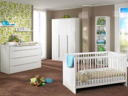 Paidi Fabiana Babyzimmer bestehend aus Kleiderschrank 3T Wickelkommode mit 3 kleinen Schubkästen und 3 großen Schubkästen sowie einem Kinderbett 70x140 cm in Glanzweiß weitere Beimöbel optional wählbar - Vorschau 2