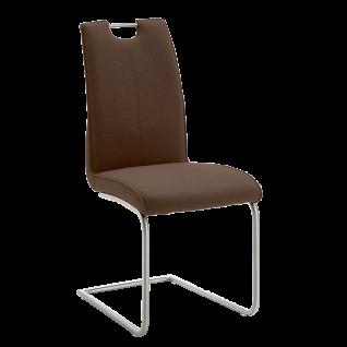 Niehoff Schwingstuhl 2881 Avatar Stuhl mit Edelstahlgriff in der Rückenlehne Bezug braun Gestell Rundrohr Edelstahl gebürstet für Wohnzimmer und Esszimmer