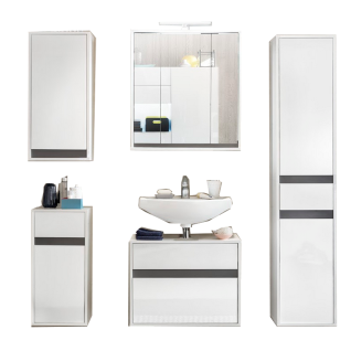 Trendteam Sol Badezimmerkombination 905 für Ihr Badezimmer 5-teiliges Set in Ausführung Korpus weiß Dekor Front weiß hochglanz Lack