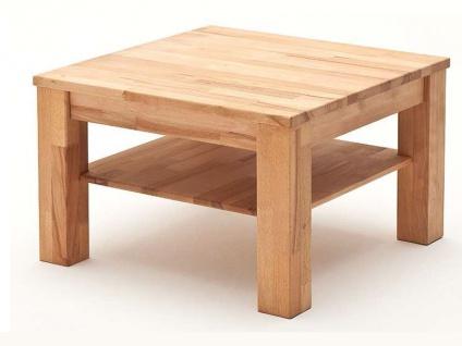 MCA Furniture Couchtisch Paul 58704 Kernbuche geölt und gewachst quadratisch 65x65 cm Massivholz keilverzinkt mit Ablageplatte