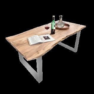 Sit Möbel Esstisch mit Baumkante massive Tischplatte aus Akazienholz Gestell Stahl silber