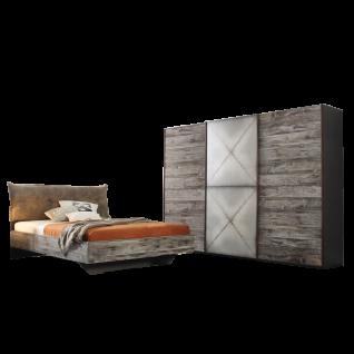 Rauch Select Timberstyle Schlafzimmer 2-teilig bestehend aus Bett mit Polsterkopfteil und Liegefläche ca. 180 x 200 cm sowie 3-türigen Schwebetürenschrank