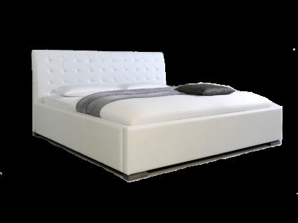 Meise Möbel ISA-COMFORT Polsterbett mit Kunstlederbezug in weiß schwarz braun oder muddy mit gestepptem Kopfteil und Metallfüßen Liegefläche wählbar