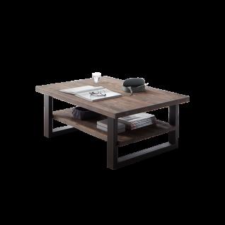 Quadrato Catania Couchtisch 42006051 für Ihr Wohnzimmer ca. 110 x 65 cm Wohnzimmertisch mit einem Ablageboden Gestell basaltgrau lackiert Tischplatte Fichte Starkfurnier gebürstet Altholzoptik