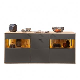 Hartmann Talis Sideboard 4185 mit Türen und Schiebern aus Mattglas anthrazit / Glastüren Korpus Massivholz Riffbuche Kommode Beleuchtung optional